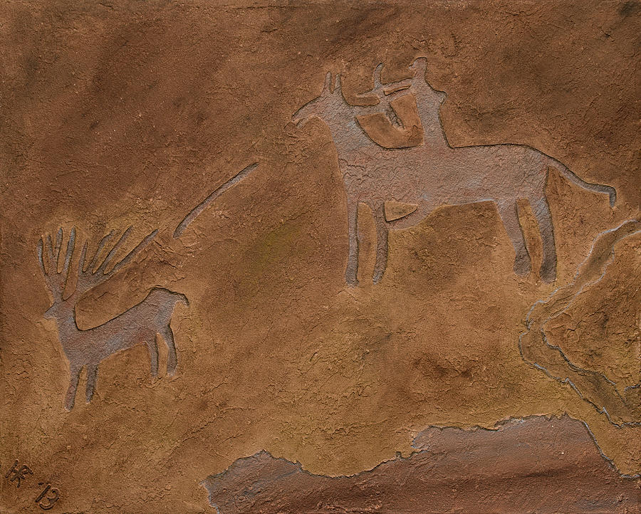 Petroglyph Relief - The Hunt by Katie Fitzgerald