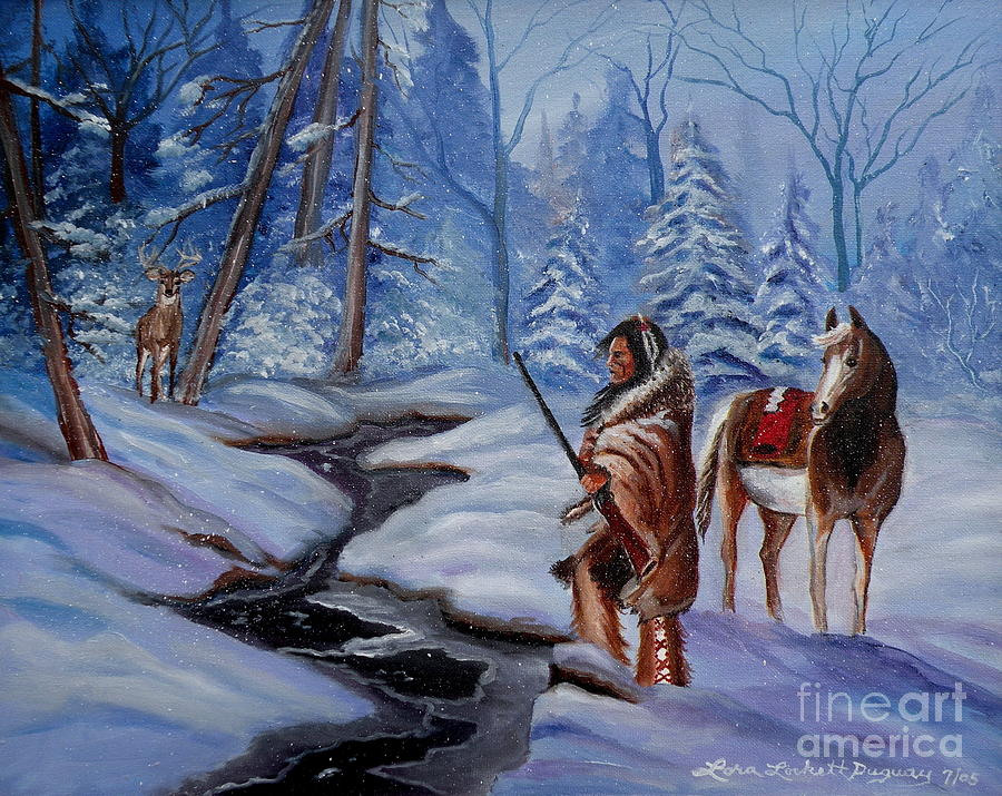 Winter Landscape Painting - The Hunt by Lora Duguay