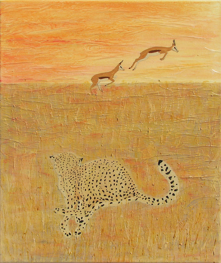 Cheetah Mixed Media - The Hunt by Stephanie Grant