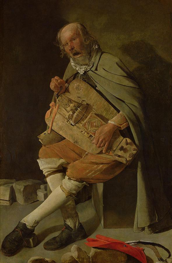 Tour Painting - The Hurdy Gurdy Player by Georges de la Tour