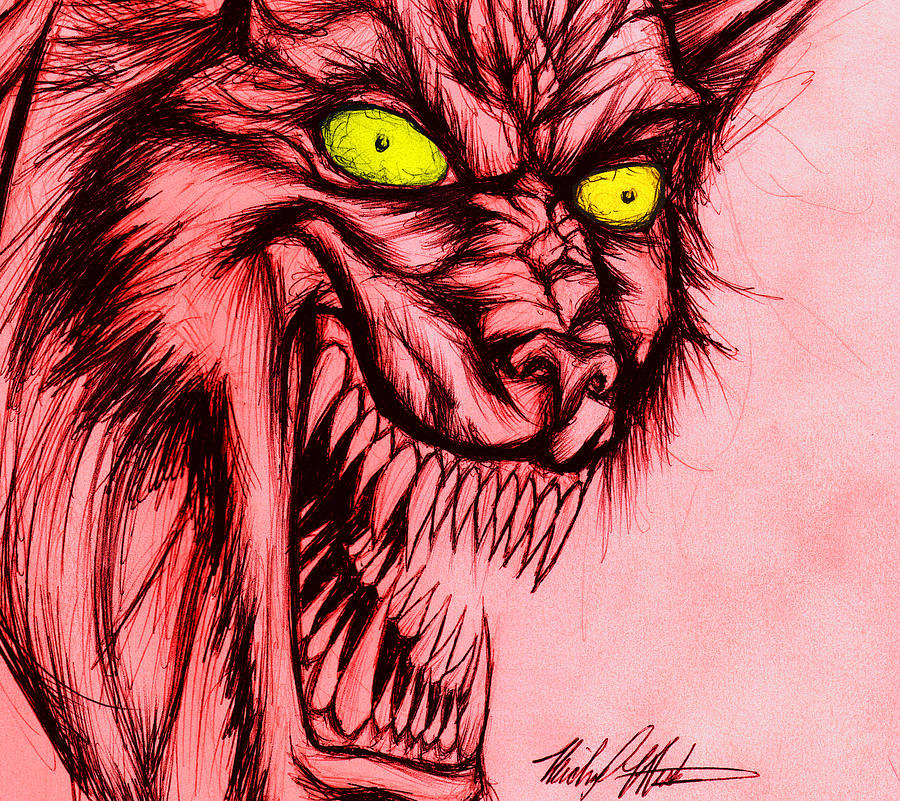Werewolf Drawing - The Hyena by Michael Mestas