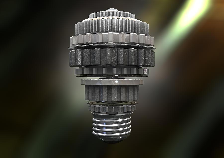 Light Bulb Digital Art - The Idea Machine by Allan Swart