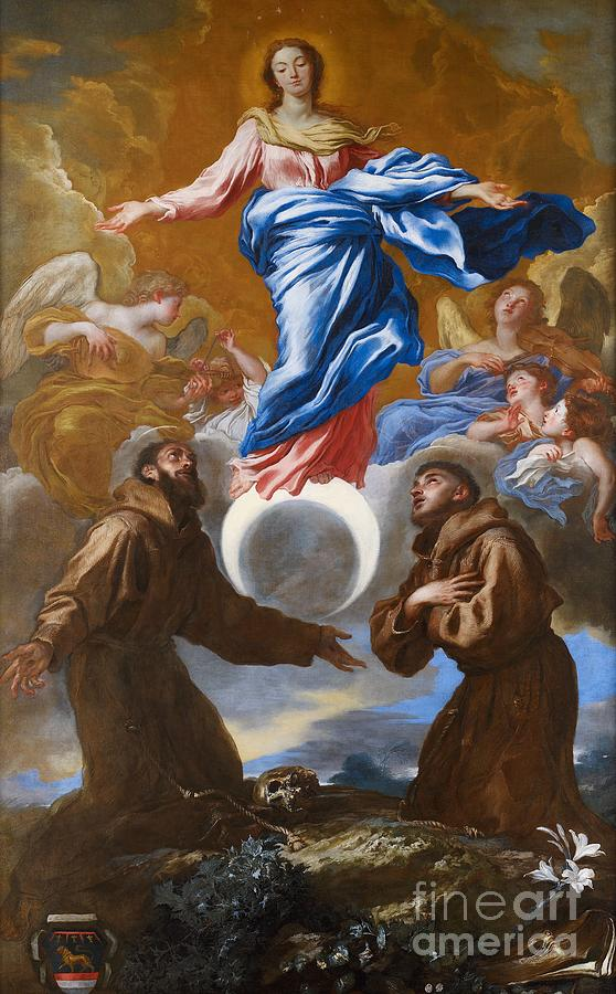 Saint Painting - The Immaculate Conception With Saints Francis Of Assisi And Anthony Of Padua by Il Grechetto