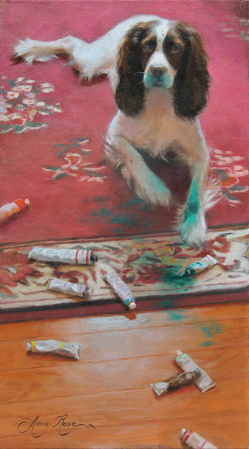 Dog Painting - The Incident by Anna Rose Bain