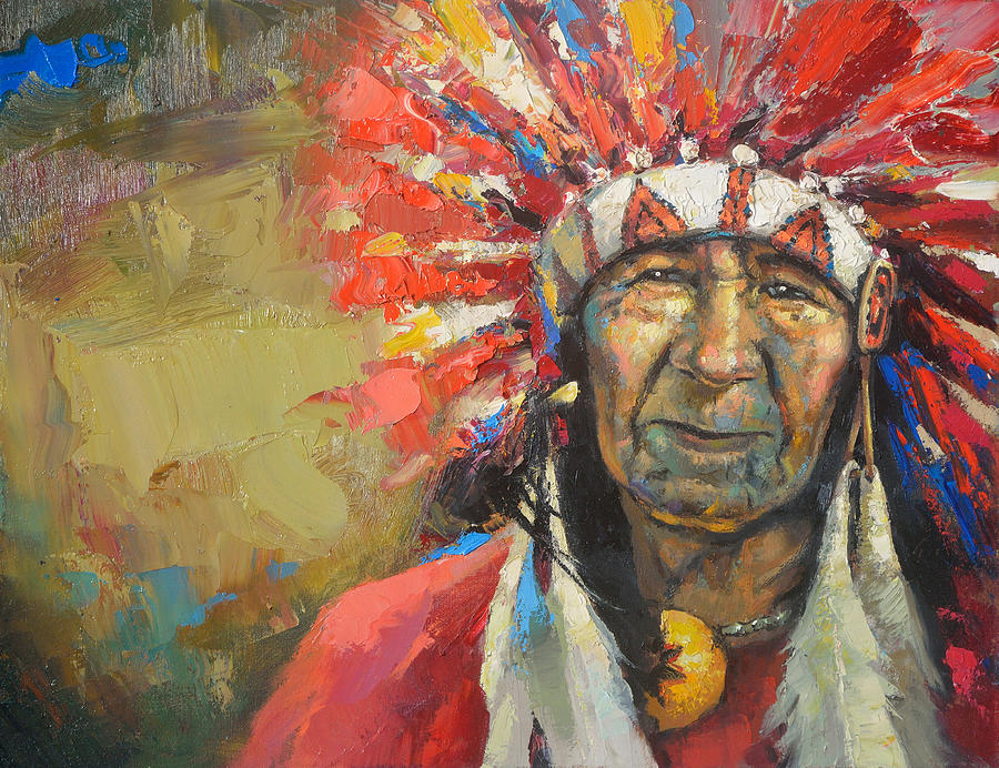 Indio Indian Place Mountine Red Face Old Men Decorativ Background Mexico Yukatan Ancient White History Sad Eyes Flaring Wild Wildworld Feather Free Freedom Yellow  Painting - The Indian Chief by Dmitry Spiros