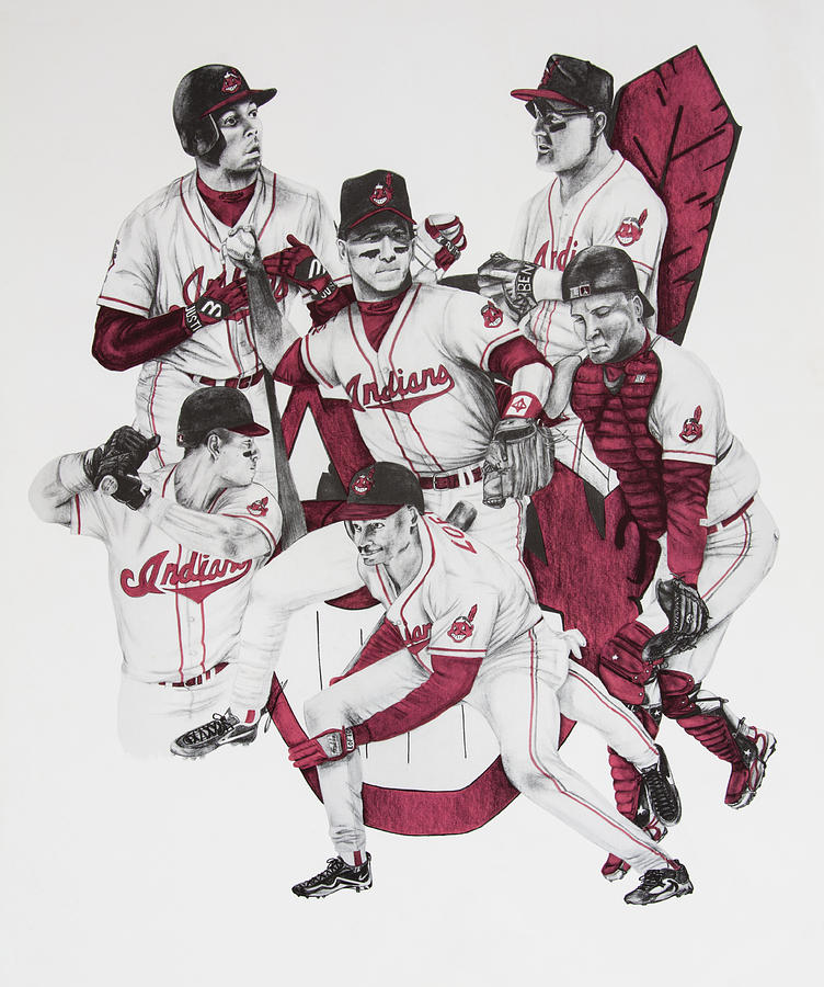 David Drawing - The Indians Glory Years-late 90s by Joe Lisowski