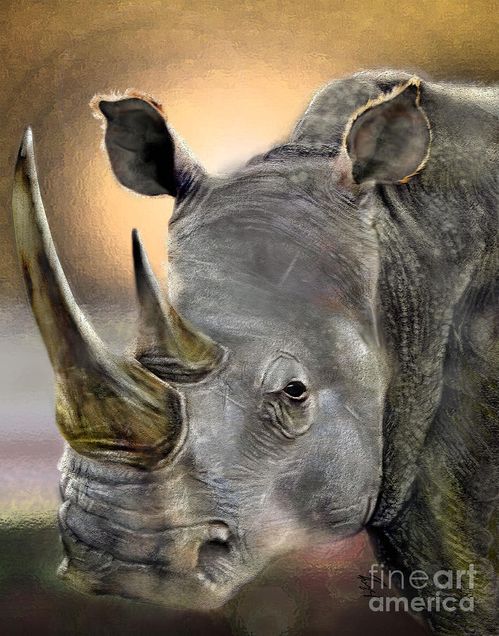 Rhino Painting - The Inevitable Collision-and So I Wait by Reggie Duffie