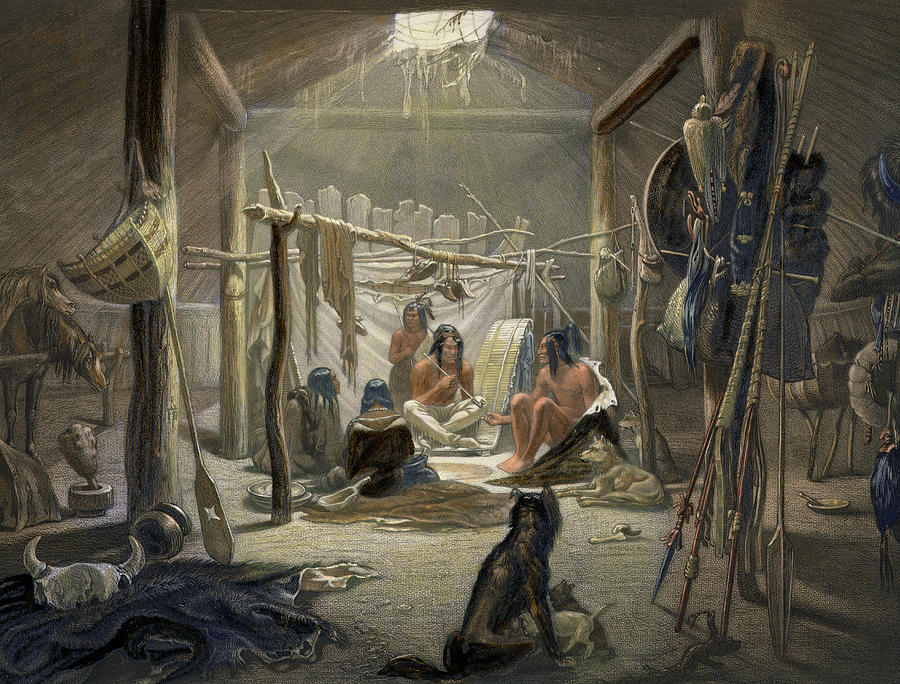 The Interior Of A Hut Of A Mandan Chief Painting by Karl Bodmer