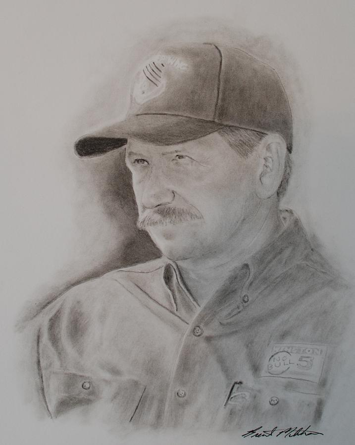 Dale Earnhardt Sr. Drawing - The Intimidator by Brent  Mileham