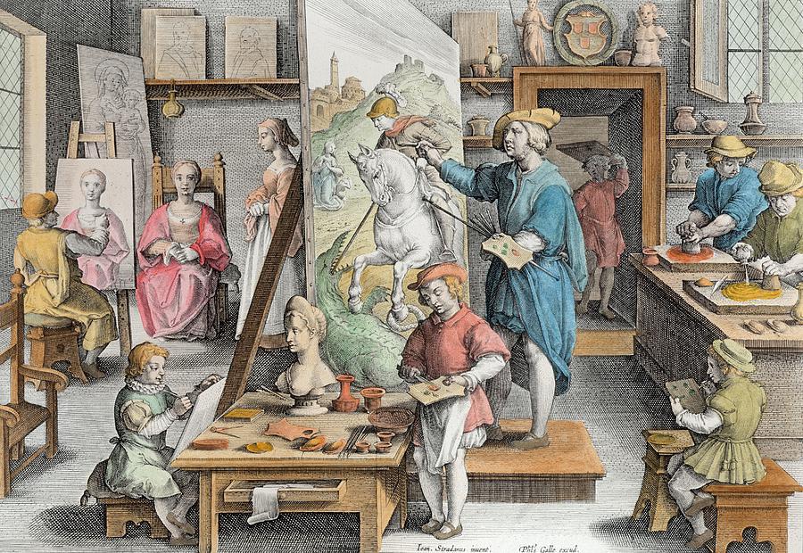 Van Eyck Drawing - The Invention Of Oil Paint, Plate 15 by Jan van der Straet