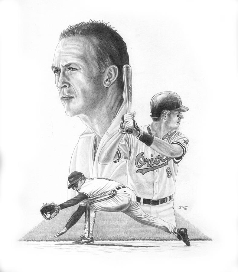 Cal Ripken Drawing - The Iron Man by Jonathan W Brown