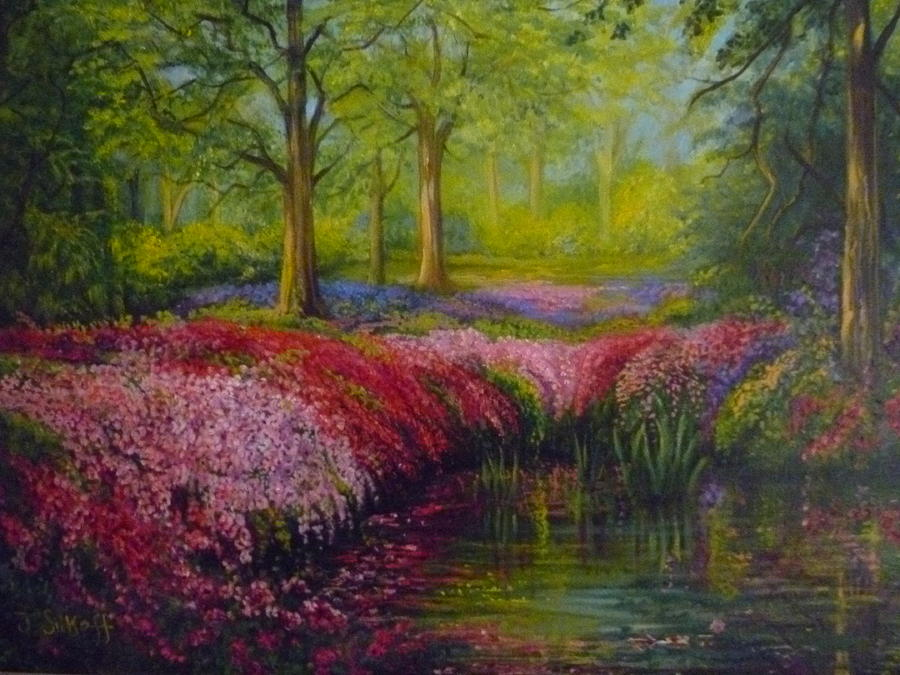 Landscape Painting - The Isabella Plantation by Janet Silkoff