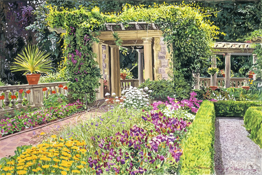 Gardenscape Painting - The Italian Gardens Hatley Park by David Lloyd Glover