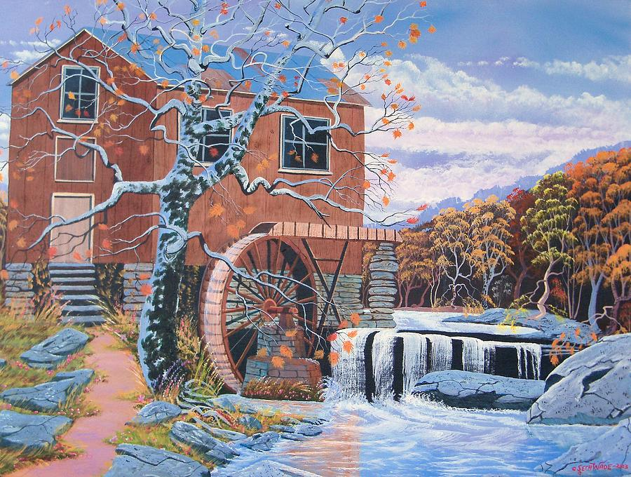 Old Water Mill Painting - The Jamestown Mill by Seth Wade