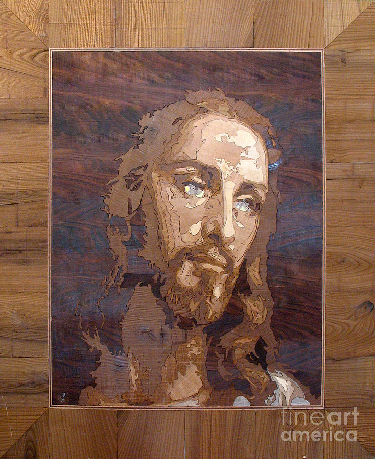 Jesus Christ Relief Sculpture - The Jesus Christ Marquetry Wood Work by Persian Art