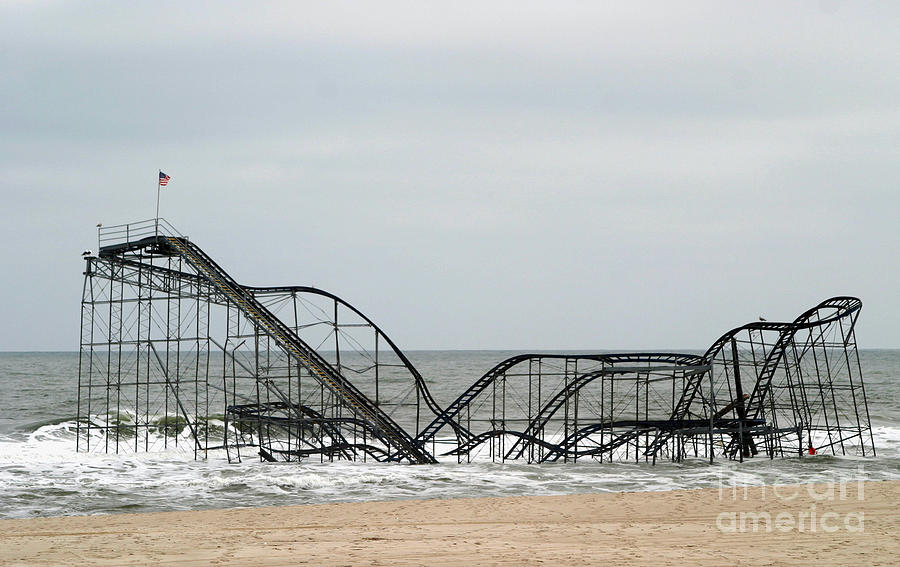Iconic Photograph - The Jetstar Rollercoaster In Seaside Heights Nj by Living Color Photography Lorraine Lynch