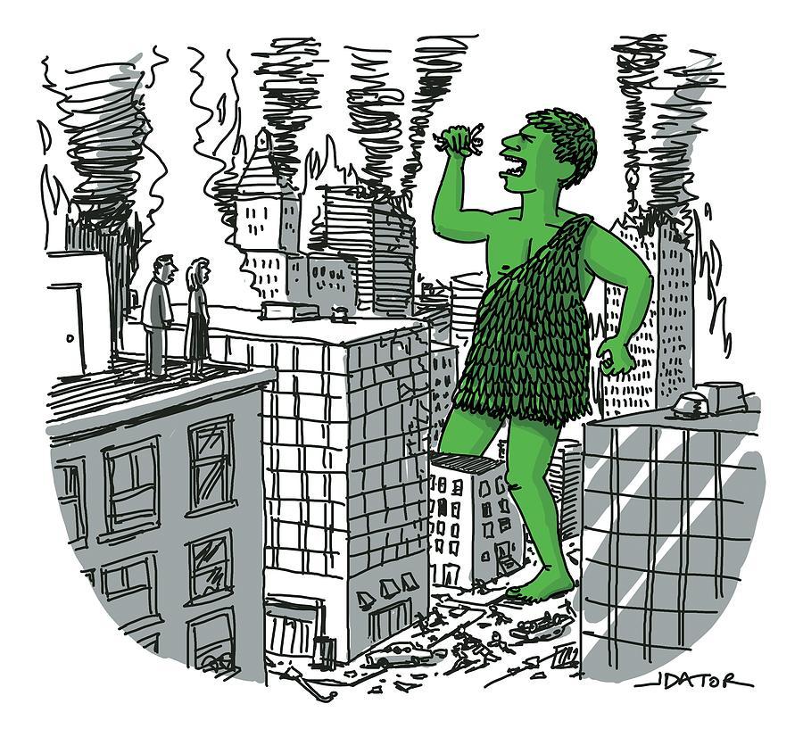 The Jolly Green Giant Walks Like Godzilla Drawing by Joe Dator