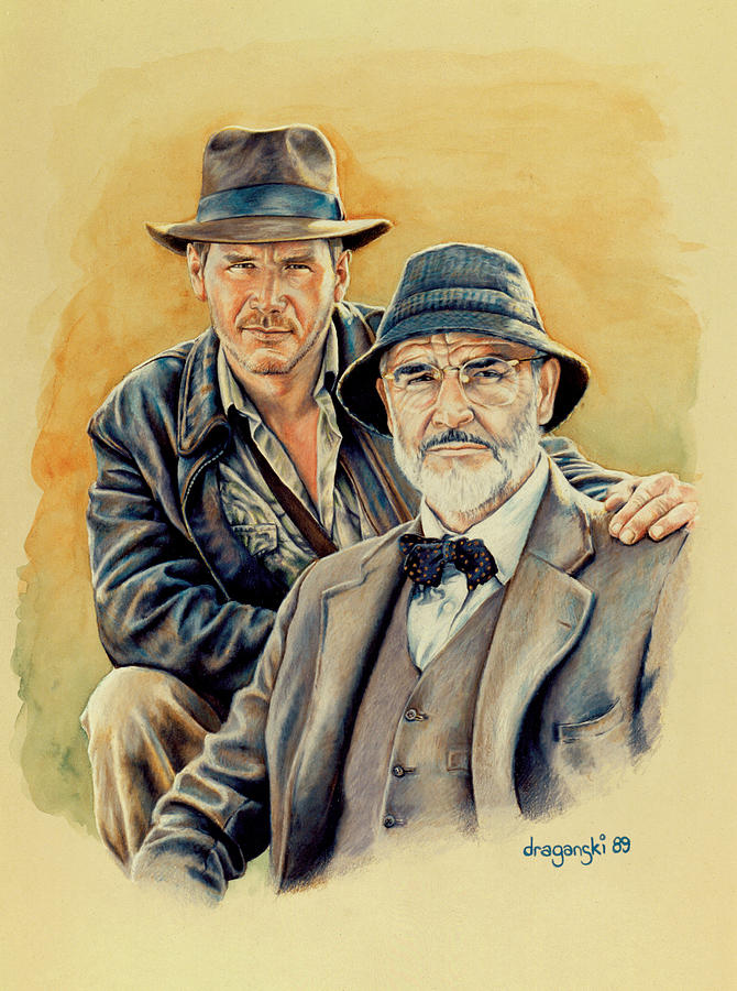 Indiana Jones Drawing - The Jones Boys by Edward Draganski