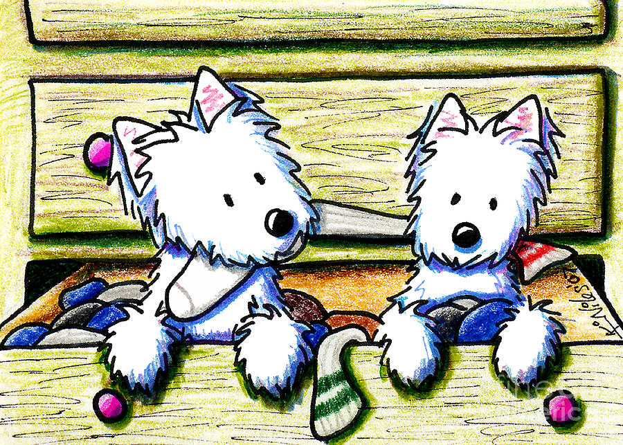 Dog Drawing - The Joy Of Socks by Kim Niles