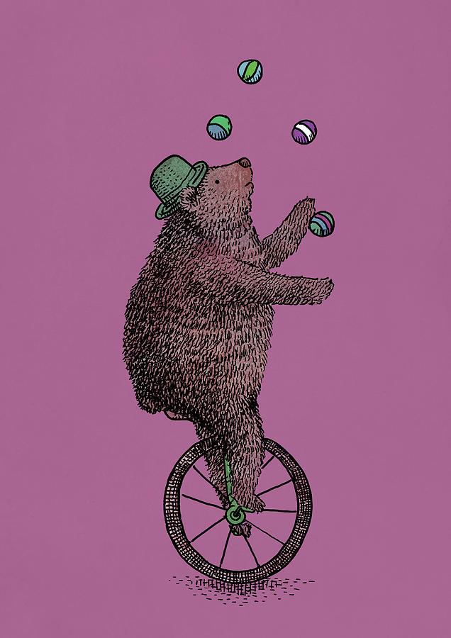 Bear Drawing - The Juggler by Eric Fan