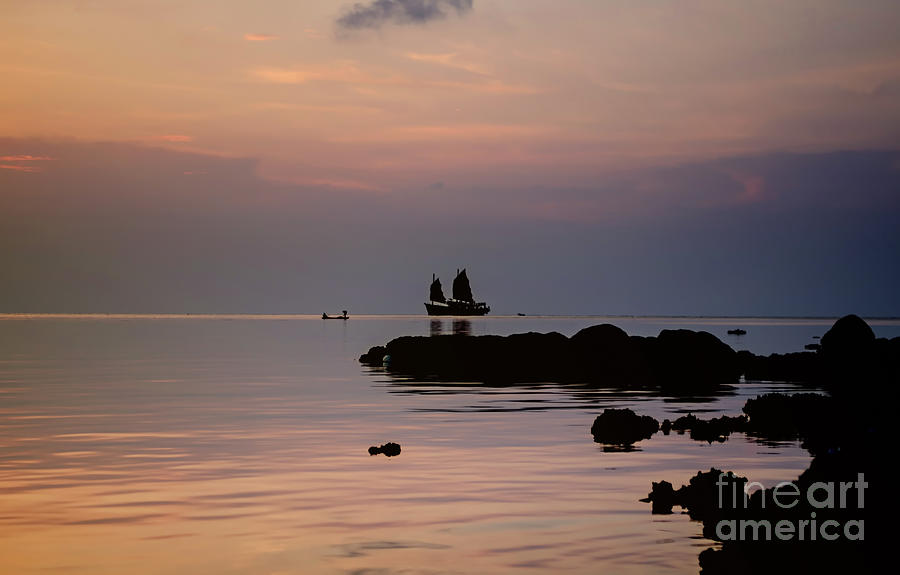 Sunset Photograph - The Junk And The Fisherman by Michelle Meenawong