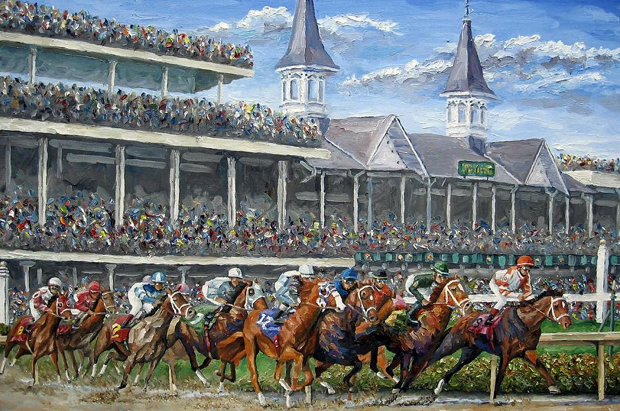Kentucky Derby Painting - The Kentucky Derby - Churchill Downs by Mike Rabe