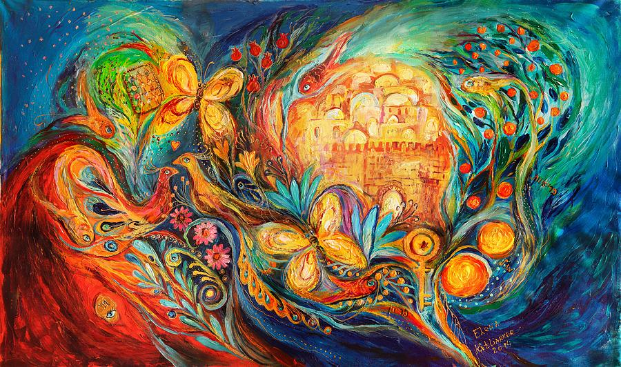 Jewish Art Prints Painting - The Key Of Jerusalem by Elena Kotliarker