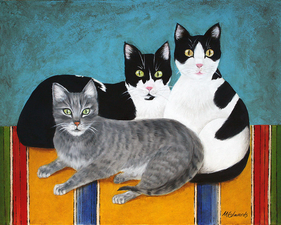 Cats Painting - The Kids by Marna Edwards Flavell