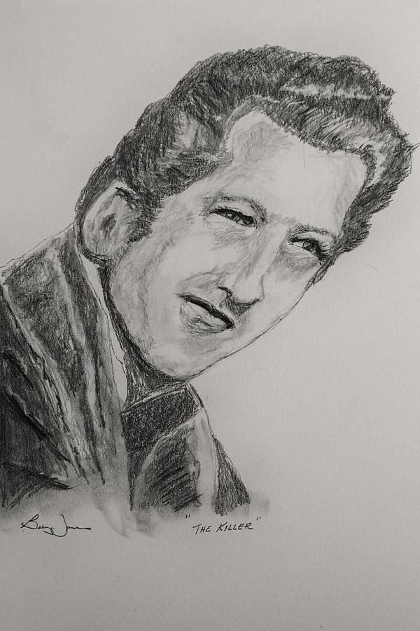 Jerry Lee Lewis Drawing - The Killer-2 by Barry Jones
