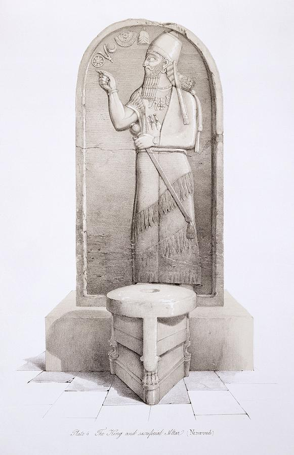 Mesopotamia Drawing - The King And Sacrificial Altar, Nimrud by English School