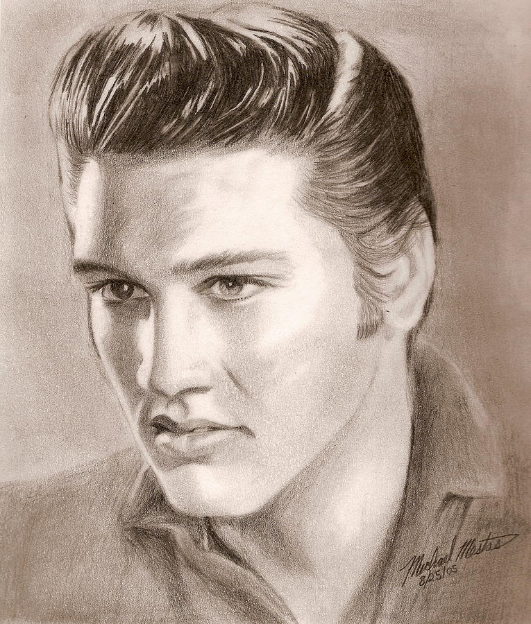 Elvis Drawing - The King Of Rock N Roll by Michael Mestas