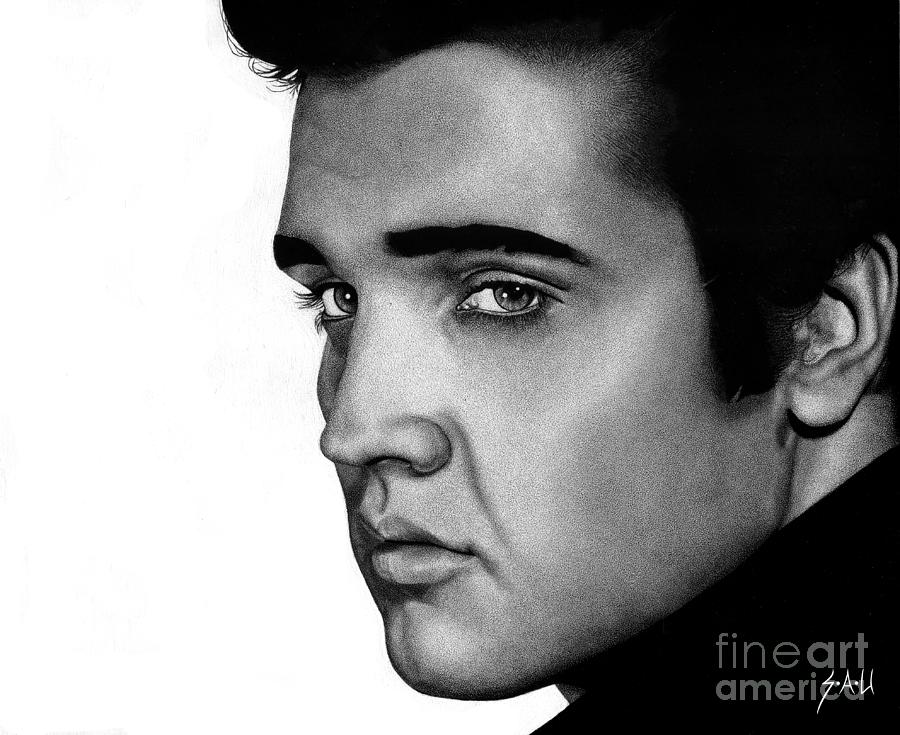 Elvis Drawing - The King by Sheryl Unwin