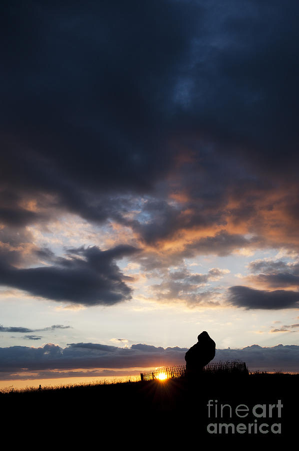 Rollright Stones Photograph - The King Stone Sunset by Tim Gainey