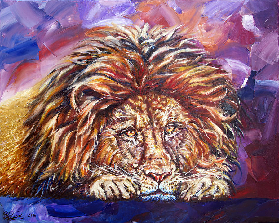 Lion Painting - The King by Yelena Rubin