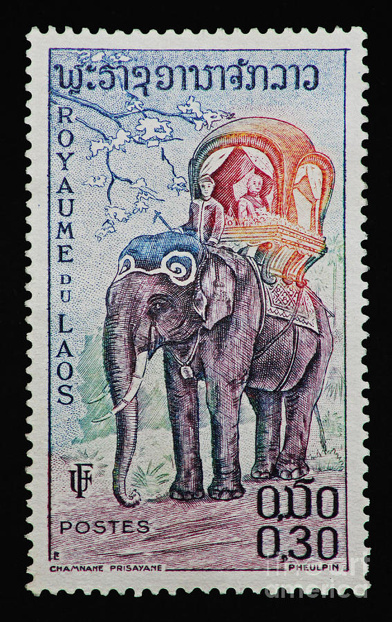 Elephant Photograph - The Kings Elephant Vintage Postage Stamp Print by Andy Prendy
