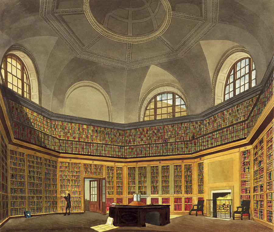 Interior Drawing - The Kings Library by James Stephanoff