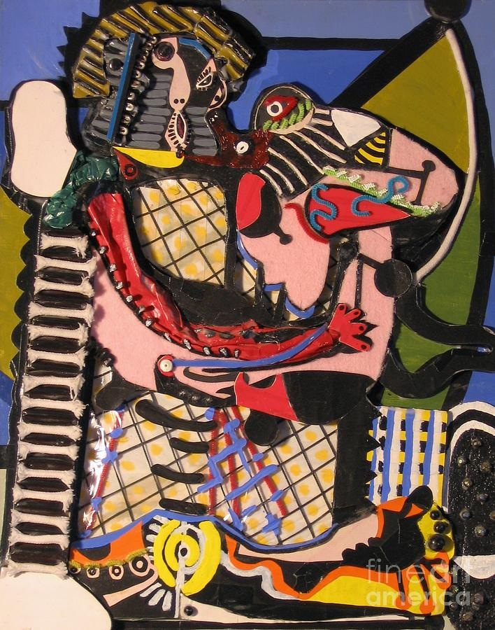 Abstract Mixed Media - The Kiss Aka The Embrace After Picasso 1925 by Mack Galixtar