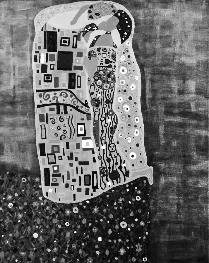Romance Painting - The Kiss Bw by Angelina Vick