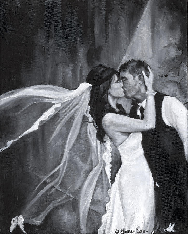 Wedding Painting - The Kiss by Stephanie Broker