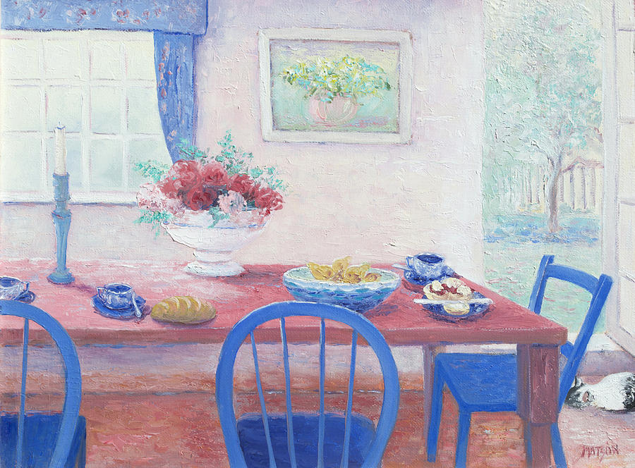 Interior Painting - The Kitchen Table Laid For Lunch by Jan Matson
