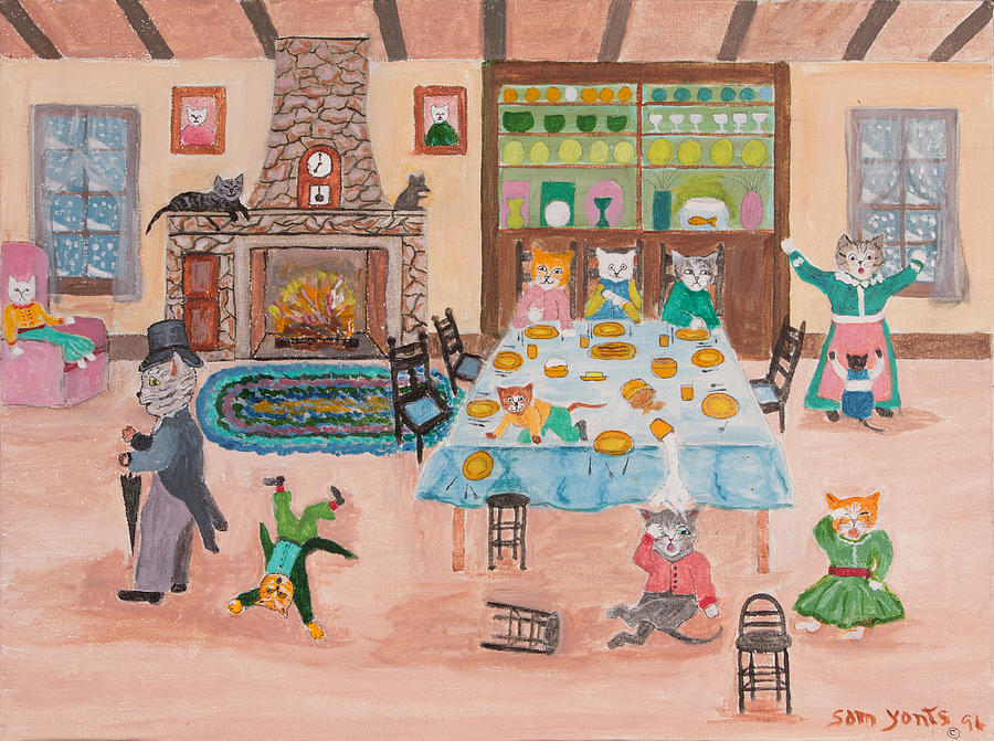 Snow Day Painting - The Kittletons No School Today by Sam Yonts