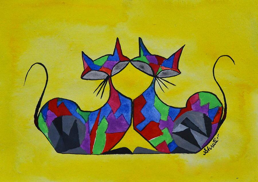 Ca Painting - The Kitty Couple by Shruti Prasad