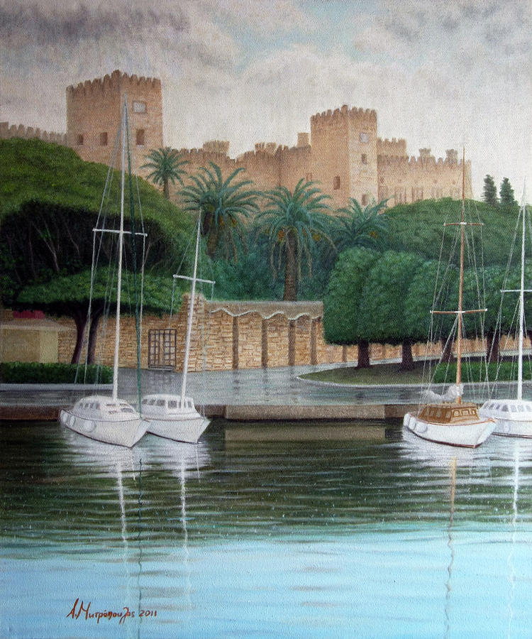 Rhodes Painting - The Knights Castle by Anastassios Mitropoulos