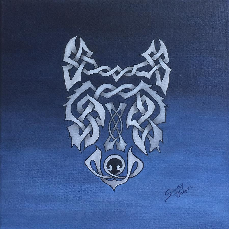 Celtic Painting - The Knotty Wolf by Sandy Jasper