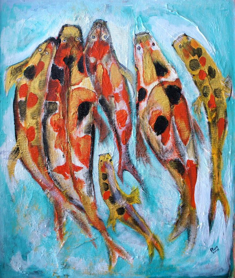 Fish Painting - The Koi Family by Pius Kendakur