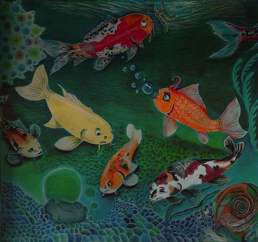 Koi Drawing - The Koi Life by Denisse Del Mar Guevara