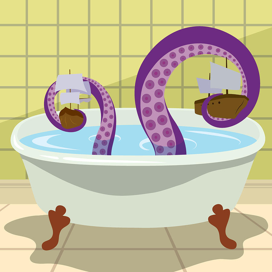 Bathroom Digital Art - The Kraken by Ashley King