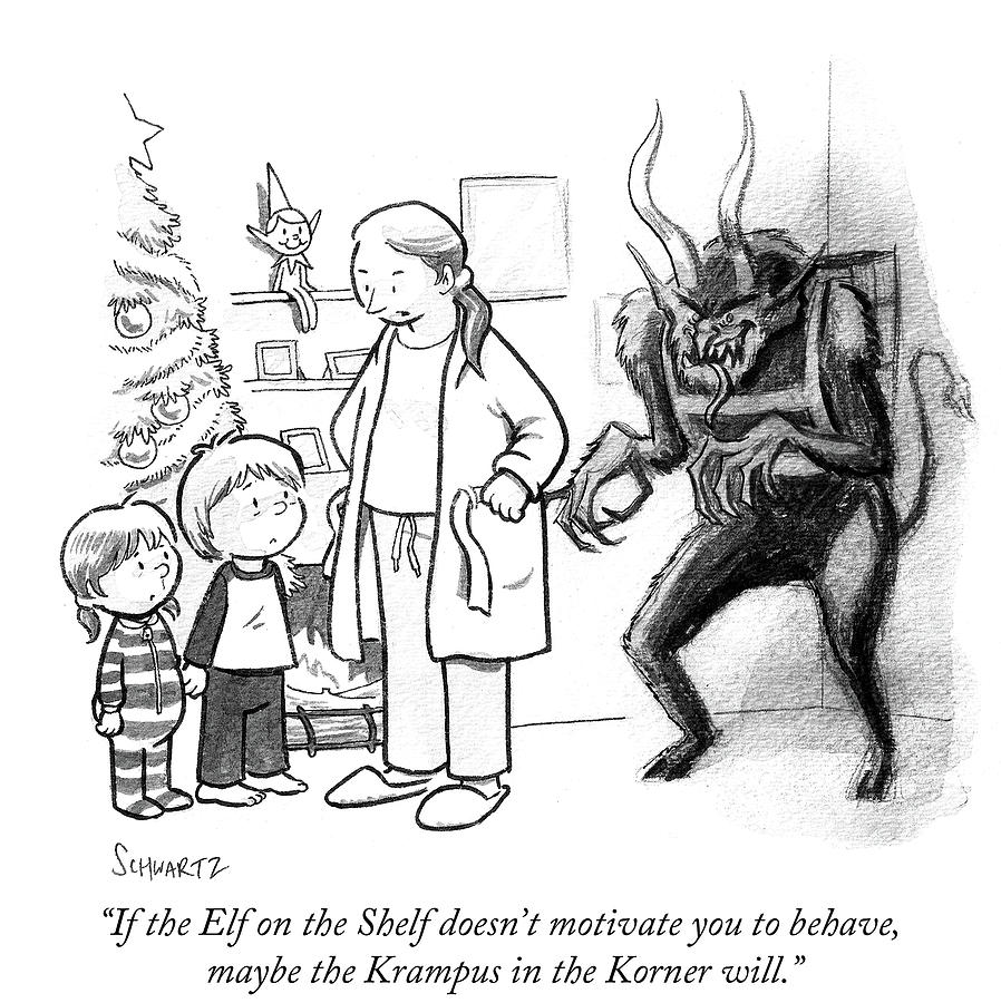Cartoon Drawing - The Krampus In The Korner by Benjamin Schwartz