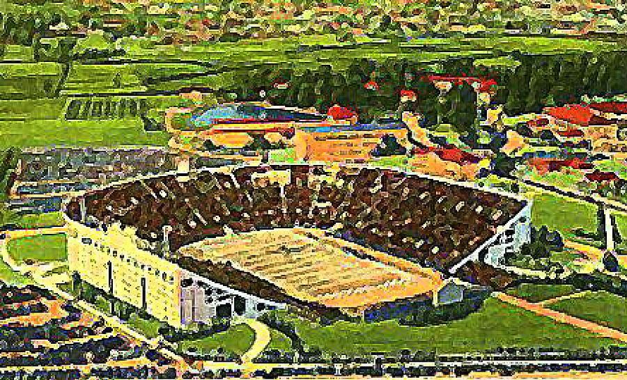 Football Stadiums Painting - The L S U Stadium In Baton Rouge La Around 1940 by Dwight Goss