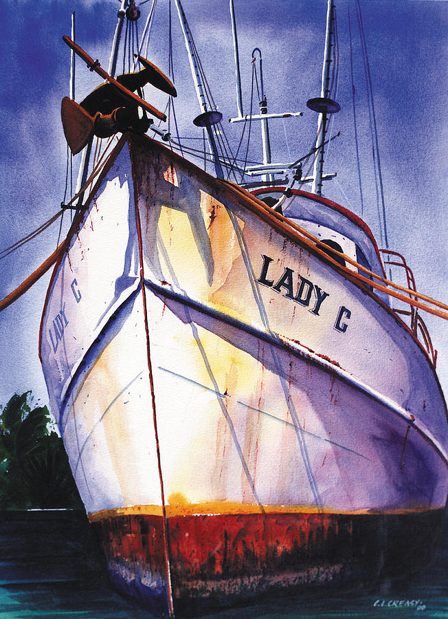Boats Painting - The Lady C by Chuck Creasy